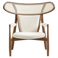 Contemporary Walnut and Natural Rattan Wingback Armchair