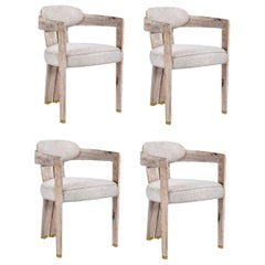 Contemporary Whitened Oak Dining Chair in Beige Linen with Brass Details