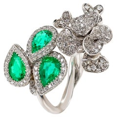 Contemporary Zambian Emerald and Diamond Cocktail Ring in White Gold