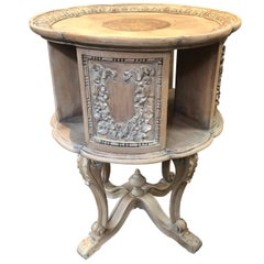 Continental Style Carved Bleached Oak Revolving Book Stand