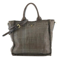 Convertible Open Tote Madras Woven Leather Large