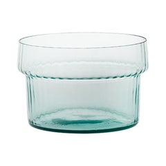 Coppa Multipot17, Bowl Handcrafted Muranese Glass, Aquamarine Plisse MUN by VG