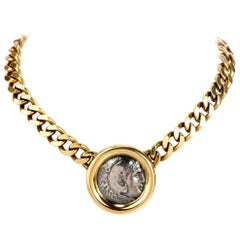 Corinth 18 Karat Gold Ancient Coin Chain Links Necklace