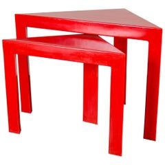 Corner Nesting Table, Red Lacquer by Robert Kuo, Set of 2, Limited Edition