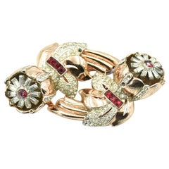 Coro Rose Gold Quivering Ruby Camellias Duette Fur Dress Clips Brooch