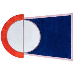 """""""Court Series"""" Key 1 Rug by Pieces, Hand-Tufted Navy Red Colorful Sporty Carpet"""