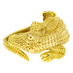 Crocodile Alligator Yellow Gold and Diamond Bangle Bracelet
