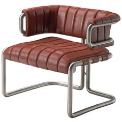 Cubist Tubular Lounge Chair in Red Leather