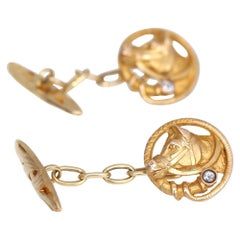 Cufflinks Horse Diamond 18 Karat Yellow Gold Fathers Day Present Art Nouveau