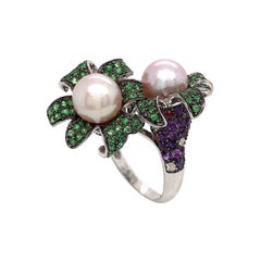Cultured Pearl Emerald Amethyst Diamonds and Ruby You and Me Ring