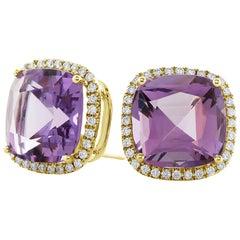 Cushion Amethyst and Diamond with Omega Clip Earrings