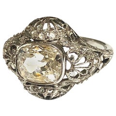 Cushion Old Cut Diamond 2.80 Carat and Platinum Ring