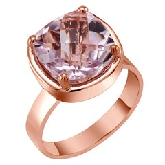Cushion Shape Amethyst Solitaire Rose Gold Plated Sterling Silver Ring