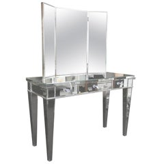 Classic Modern Mirrored Vanity Desk with Triptych Mirror