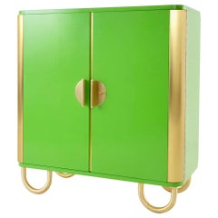 Custom Made Modernist Two-Door Sideboard, Brass, High-Gloss Lacquered Wood
