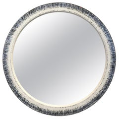 Customizable Breara Glass Mosaic Round Mirror in White and Gray by Ercole Home