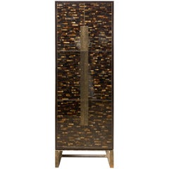 Customizable Chelsea Brown Glass Mosaic Bar with Hammered Metal Base by Ercole