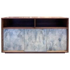 Customizable Églomisé Blue Silver Glass Sliding Door Buffet by Ercole Home