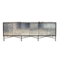 Customizable Églomisé Blue Silver Glass Buffet with Metal Base by Ercole Home