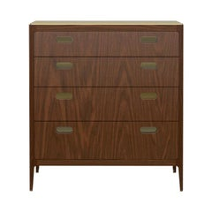 Customizable Four-Drawer Walnut Dresser with Brass Top from Munson Furniture