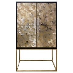 Customizable Gold Églomisé Black and Green Bar with Selenite Handles by Ercole