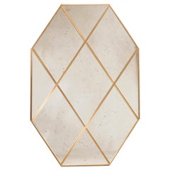 Customizable Octagonal Brass Frame Window Look Distressed Effect Glass Mirror