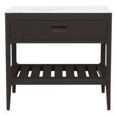 Customizable One Drawer Blackened Ash Nightstand by Munson Furniture