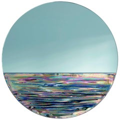 Orizon Rounded Hand Glazed Ceramic Mirror in Iridescent Blue