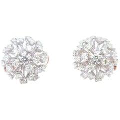 Dandelion Flower Diamond Earrings White and Rose Gold