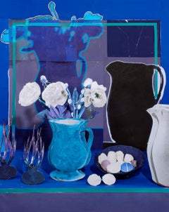Blue Still Life with White Peonies, Eggs and Onions