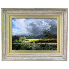 Daniel Van Der Putten Oil Painting English Rural Landscape with Rabbits Clouds