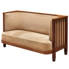 Danish Art Deco Sofa with a High Back in Beige Corduroy