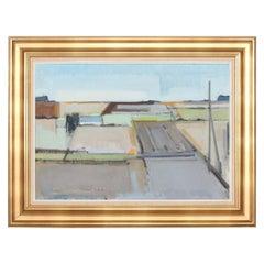 Danish Artist Knud Laursen, Painting Landscape in Denmark Oil on Canvas, 1960s