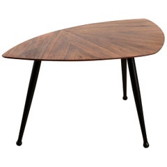 Danish Craftsman Tripod Base Coffee Table, Rosewood Top Ebonized Legs