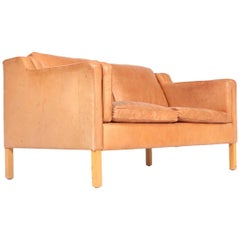 Danish Design Two-Seat Sofa in Patinated Leather by Stouby, 1980s