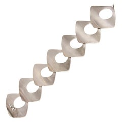 Danish Geometric Sculptural Sterling Silver Link Bracelet Modernist