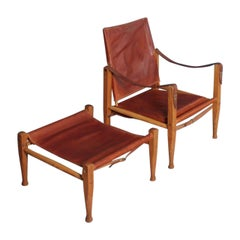 Danish Midcentury Lounge Chair & Ottoman in Patinated Leather by Kaare Klint