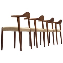 Set of Four Danish Cowhorn Chairs with Beige Upholstery