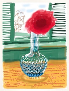 Untitled No.281 -- iPhone Drawing, Window, Still Life, Flowers by David Hockney