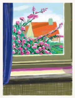 Untitled No.778 -- iPhone Drawing, Window, Nature, Flowers by David Hockney