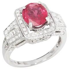David Jerome 18 Karat White Gold Ruby and Diamond Ring