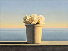 Still Life with White Roses in Pot