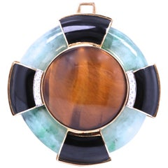 David Webb 1960s Jade Tiger's Eye Onyx Diamond 18 Karat Gold Platinum Pendant