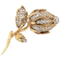 David Webb Gold, Platinum and Diamond Flower Brooch