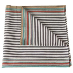 Handwoven Fine Cotton Throw in Grey Stripes and Multi-Color Trim, in Stock