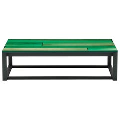 Iro Low Table in Green Stained Ash and Ocean Green by Jo Nagasaka