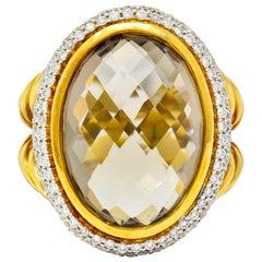 David Yurman Champagne Topaz Diamond 18 Karat Gold Statement Ring