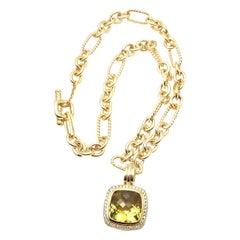 David Yurman Diamond Citrine Pendant Figaro Yellow Gold Link Chain Necklace