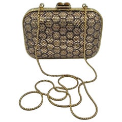 Dazzling Judith Leiber Crystal Minaudiere Evening Clutch With Honeycomb Design