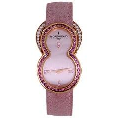 de Grisogono Ladies Be Rose Gold Pink Sapphire Diamond Quartz Wristwatch